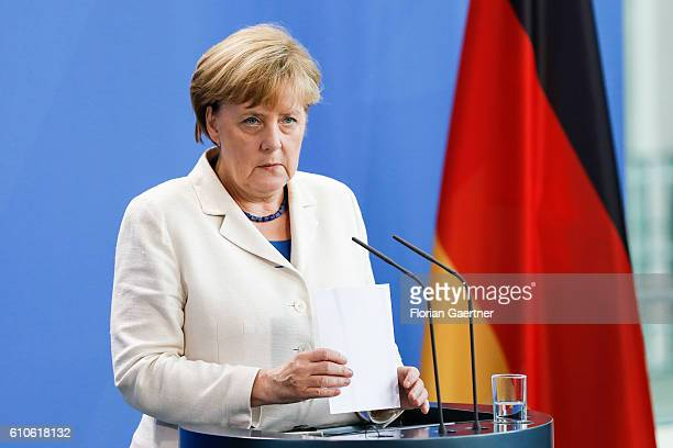 German Chancellor Angela Merkel speaks to the media on September 27 2016 in Berlin Germany Razak visits Berlin for political conversation