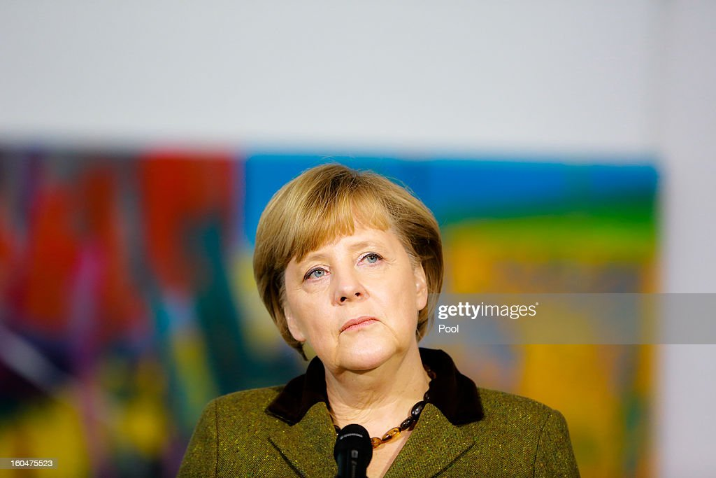 German Chancellor <a gi-track='captionPersonalityLinkClicked' href=/galleries/search?phrase=Angela+Merkel&family=editorial&specificpeople=202161 ng-click='$event.stopPropagation()'>Angela Merkel</a> speaks to the media with U.S. Vice President Joe Biden prior to talks at the Chancellery on February 1, 2013 in Berlin, Germany. The two are meeting ahead of the Munich Security Conference, which takes place from February 1-3.