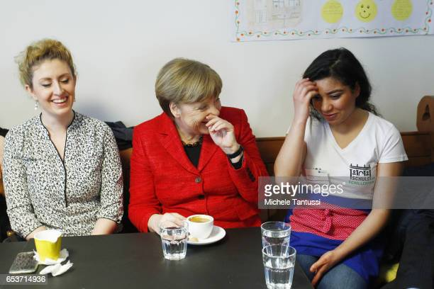 German Chancellor Angela Merkel speaks to young school kids and their teachers in the Cafeteria of the PaulGerhadtStift center on March 16 2017 in...