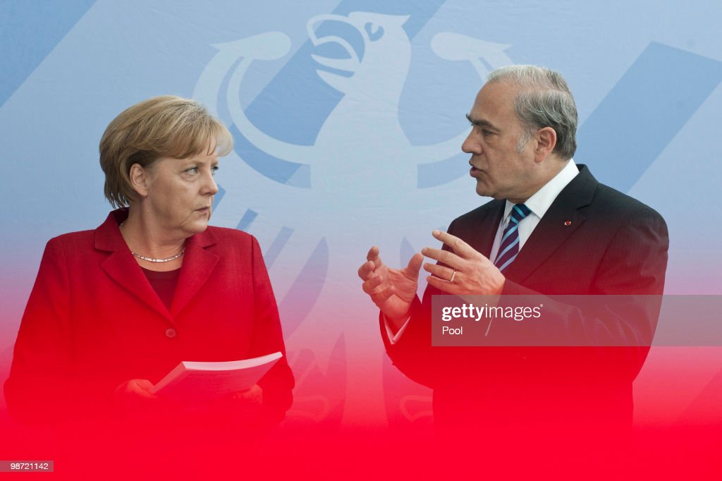 German Chancellor <a gi-track='captionPersonalityLinkClicked' href=/galleries/search?phrase=Angela+Merkel&family=editorial&specificpeople=202161 ng-click='$event.stopPropagation()'>Angela Merkel</a> (L) talks to OECD Secretary-General Jose Angel Gurria during the handover of the OECD Report at the Chancellery on April 28, 2010 in Berlin, Germany. Merkel met with International Organizations to discuss a solution for the Greece debt crisis that is intensifying pressure on policy makers to widen a bailout package beyond Greece after the Greek debt rating was decreased to 'junk' status. Newsmakers report that the 45 billion euros ($60 billion) already pledged by the International Monetary Fund and European Union will be insufficient to tackle Greece's mounting debt crisis.