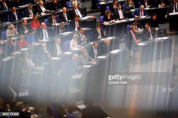 German Chancellor Angela Merkel to be elected President of the Bundestag Wolfgang Schaeuble and other members of the CDU faction attend the opening...