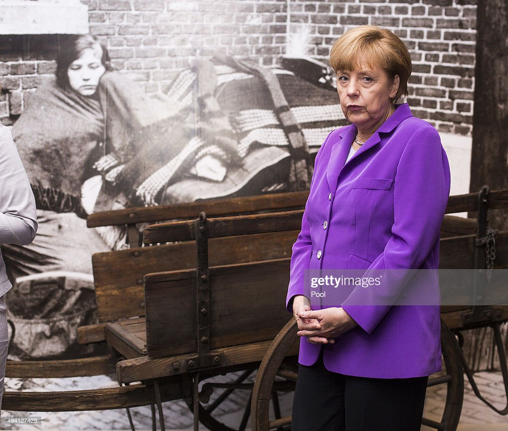 German Chancellor <a gi-track='captionPersonalityLinkClicked' href=/galleries/search?phrase=Angela+Merkel&family=editorial&specificpeople=202161 ng-click='$event.stopPropagation()'>Angela Merkel</a> tours the exhibition: 'The First World War, 1914-1918' ('Der Erster Weltkrieg, 1914-1918') on its official opening at the Deutsches Historisches Museum on May 28, 2014 in Berlin, Germany. The exhibition, which features over 250 exhibits organized along 14 thematic battlefield sites and other places from World War I, will be open to the public from May 29 thru November 30.