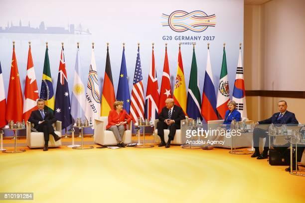 German Chancellor Angela Merkel Turkish President Recep Tayyip Erdogan British Prime Minister Theresa May Argentina's President Mauricio Macri and US...