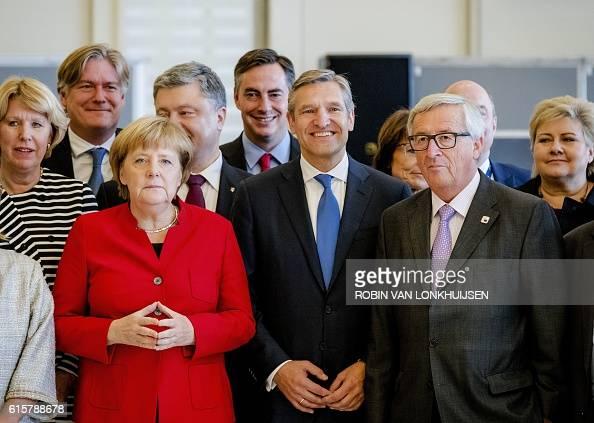 German Chancellor Angela Merkel Ukraine's President Petro Poroshenko Prime Minister of Lower Saxony David McAllister Netherland's Christian...