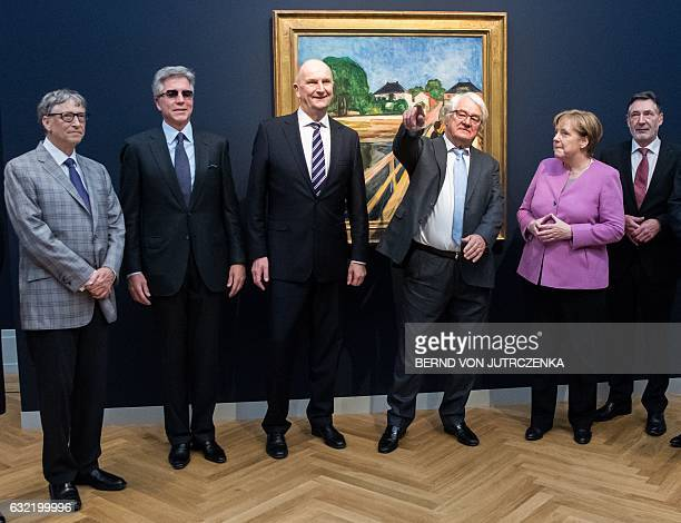 German Chancellor Angela Merkel US businessman Bill Gates Head of SAP Bill McDermott Hasso Plattner entrepreneur and patron state premier of...
