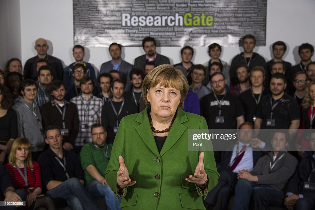 German Chancellor <a gi-track='captionPersonalityLinkClicked' href=/galleries/search?phrase=Angela+Merkel&family=editorial&specificpeople=202161 ng-click='$event.stopPropagation()'>Angela Merkel</a> visits the company Research Gate on March 7, 2013 in Berlin, Germany. Chancellor Merkel and Economy Minister Philipp Roesler visited young internet companies and talked to financiers.