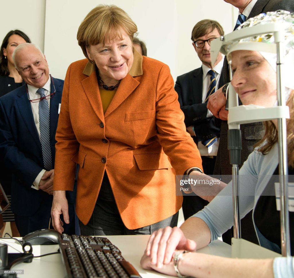 German Chancellor Angela Merkel (CDU) visits the DZNE, the German Center for Neurodegenerative Diseases at the Helmholtz Association on March 15, 2017 in Bonn, Germany.
