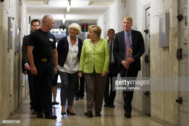 German Chancellor Angela Merkel visits with Monika Gruetters federal commissioner for Culture and Media and Hubertus Knabe Director of the Stasi...