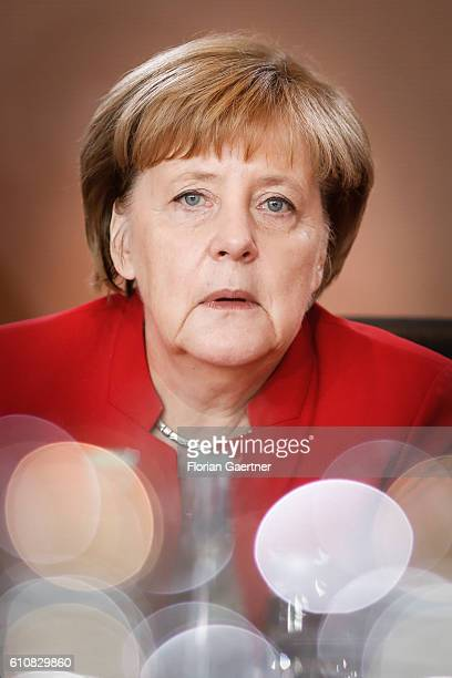 German Chancellor Angela Merkel waits for the start of the weekly cabinet meeting on September 28 2016 in Berlin Germany
