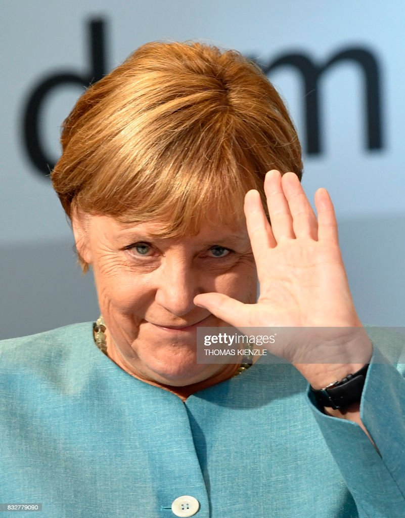 German Chancellor Angela Merkel waves during an election campaign rally of the Christian Democratic Union (CDU) in Heilbronn, southern Germany on August 16, 2017. /