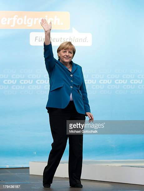 German chancellor Angela Merkel waves on September 03 2013 in Finsterwalde Germany General elections in Germany will be held on next September 22nd