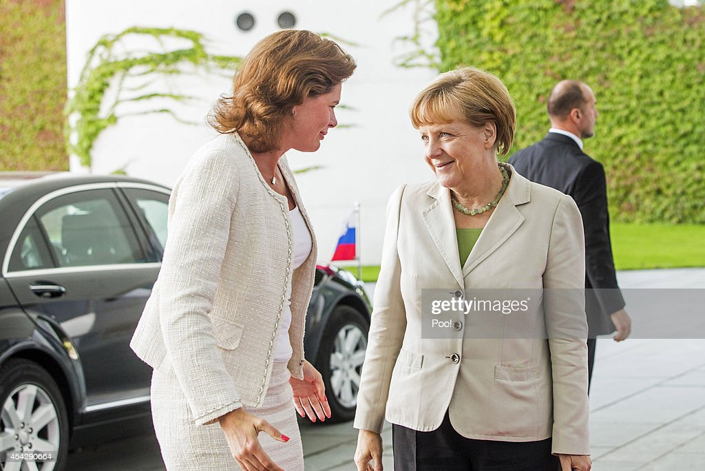 German Chancellor <a gi-track='captionPersonalityLinkClicked' href=/galleries/search?phrase=Angela+Merkel&family=editorial&specificpeople=202161 ng-click='$event.stopPropagation()'>Angela Merkel</a> welcomes Alenka Bratusek of Slovenia to the German government Balkan conference at the Chancellery on August 28, 2014 in Berlin, Germany. The leaders of Albania, Kosovo, Croatia, Bosnia-Herzegovina, Slovenia, Serbia, Montenegro and Macedonia are participating in the conference that also includes Austrian Chancellor Werner Faymann and European Commission President Jose Manuel Barroso.