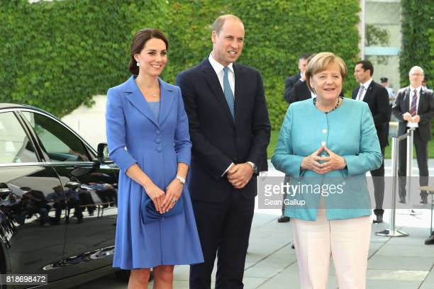 German Chancellor Angela Merkel welcomes Catherine Duchess of Cambridge and Prince William Duke of Cambridge at chancellery during an official visit...