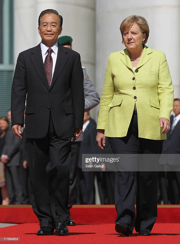 German Chancellor Angela Merkel welcomes Chinese Premier Wen Jiabao at the Chancellery on June 28, 2011 in Berlin, Germany. The Chinese leader is visiting a variety of European countries and in Germany is participating in the first-ever German-Chinese government consultaitons.