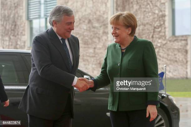 German Chancellor Angela Merkel welcomes for the first time EU Parliament President Antonio Tajani at the chancellory on February 24 2017 in Berlin...