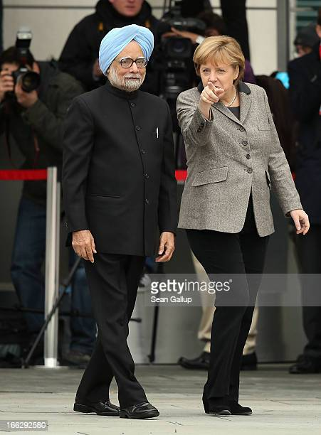 German Chancellor Angela Merkel welcomes Indian Prime Minister Manmohan Singh at the Chancellery on April 11 2013 in Berlin Germany Singh and the...