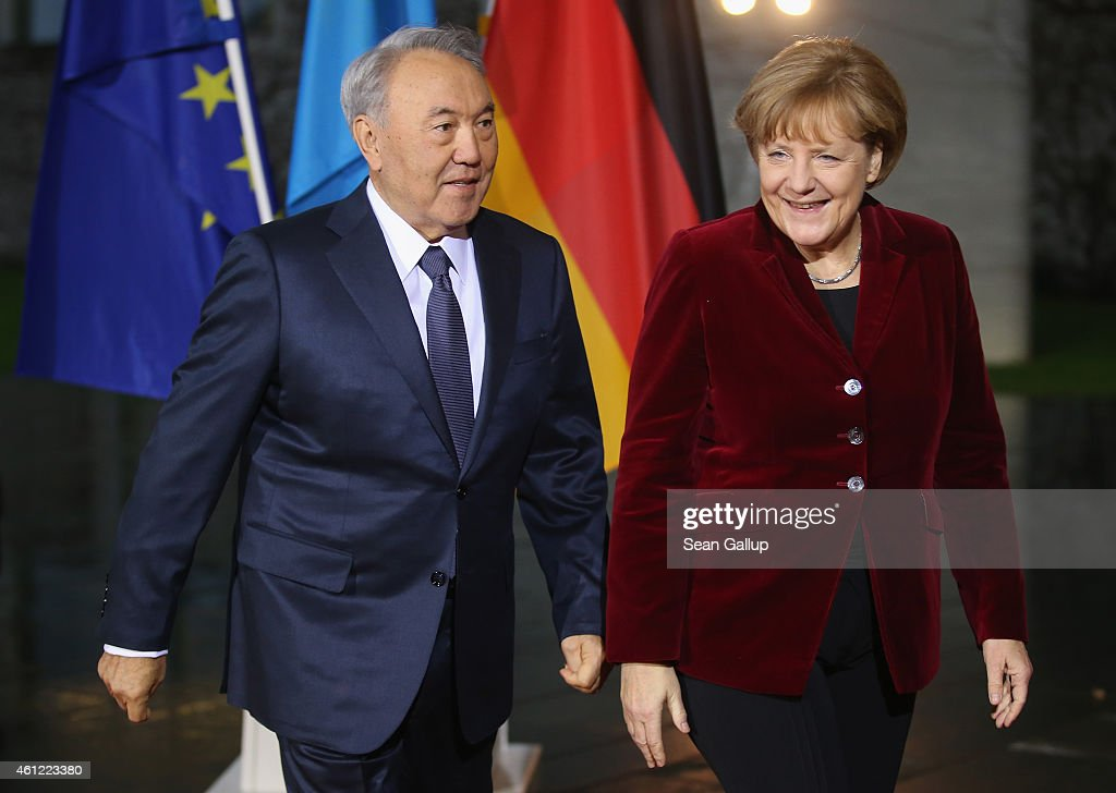 German Chancellor Angela Merkel welcomes Kazakh President Nursultan Nazarbayev for talks at the Chancellery on January 9, 2015 in Berlin, Germany. The two leaders are scheduled to discuss a proposed meeting by Ukrainian President Petro Poroshenko in the Kazakhstan capital of Astana between Poroshenko, Russian President Vladimir Putin, German Chancellor Angela Merkel and French President Francois Hollande in an effort to resolve the violent crisis in eastern Ukraine.