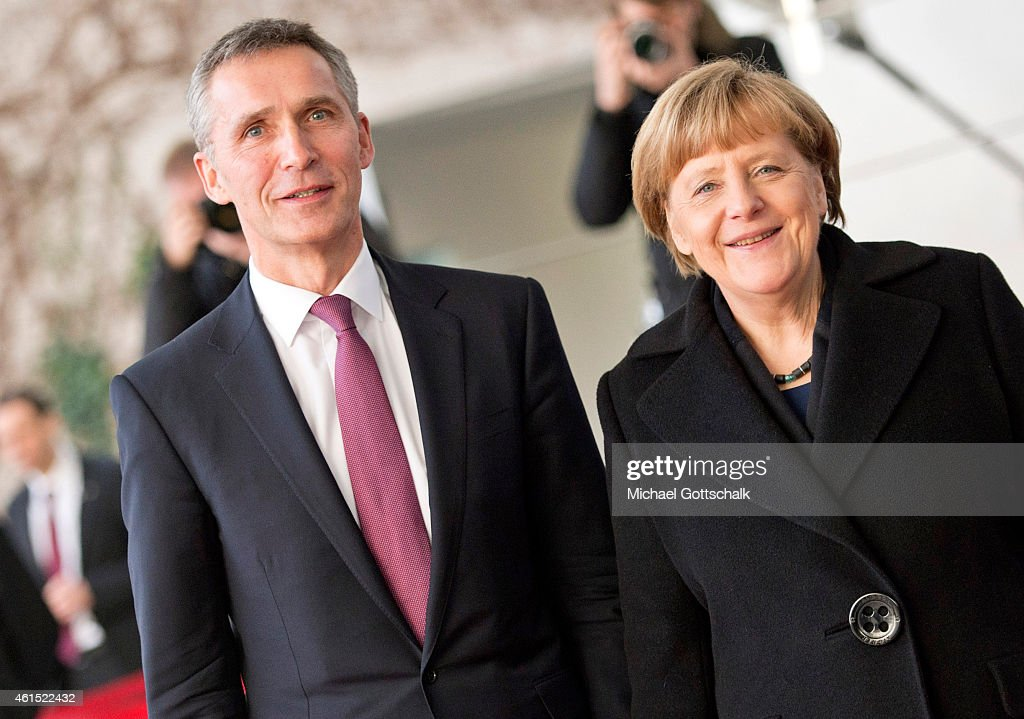 German Chancellor Angela Merkel welcomes NATO General Secretary Jens Stoltenberg for a meeting in German Chancellery on January 14, 2015 in Berlin, Germany.