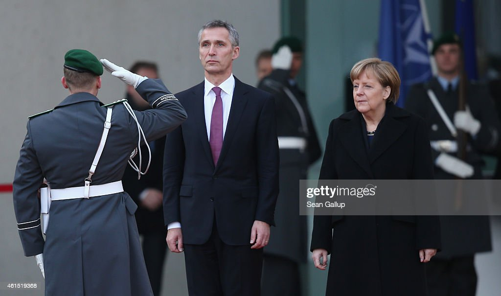 German Chancellor <a gi-track='captionPersonalityLinkClicked' href=/galleries/search?phrase=Angela+Merkel&family=editorial&specificpeople=202161 ng-click='$event.stopPropagation()'>Angela Merkel</a> welcomes NATO Secretary General <a gi-track='captionPersonalityLinkClicked' href=/galleries/search?phrase=Jens+Stoltenberg&family=editorial&specificpeople=558620 ng-click='$event.stopPropagation()'>Jens Stoltenberg</a> at the Chancellery on January 14, 2015 in Berlin, Germany. Stoltenberg is on his first official visit to meet with Merkel in Berlin since he took office.