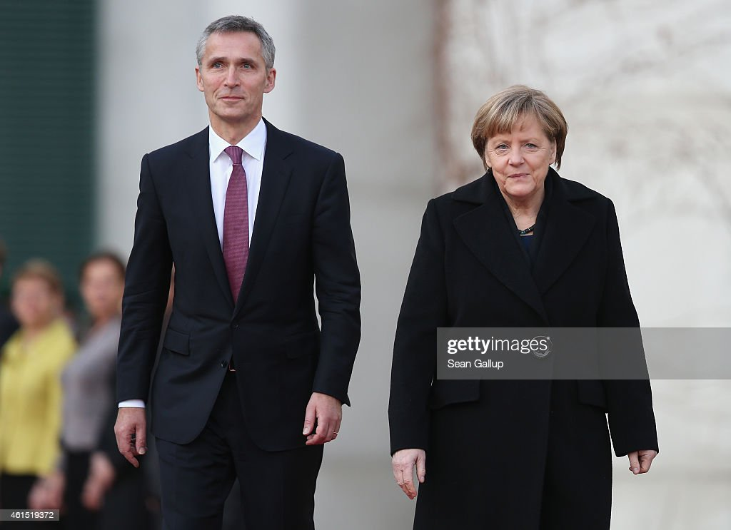 German Chancellor Angela Merkel welcomes NATO Secretary General Jens Stoltenberg at the Chancellery on January 14, 2015 in Berlin, Germany. Stoltenberg is on his first official visit to meet with Merkel in Berlin since he took office.