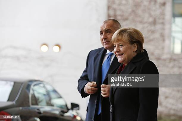 German Chancellor Angela Merkel welcomes on December 15 2014 the Bulgarian Prime Minister Boyko Borisov with military honors on his first visit to...