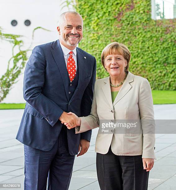 German Chancellor Angela Merkel welcomes Prime Minister of Albania Edi Rama to the German government Balkan conference at the Chancellery on August...
