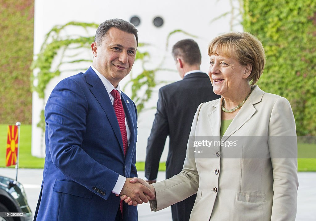 German Chancellor Angela Merkel welcomes Prime Minister of Macedonia <a gi-track='captionPersonalityLinkClicked' href=/galleries/search?phrase=Nikola+Gruevski&family=editorial&specificpeople=567539 ng-click='$event.stopPropagation()'>Nikola Gruevski</a> to the German government Balkan conference at the Chancellery on August 28, 2014 in Berlin, Germany. The leaders of Albania, Kosovo, Croatia, Bosnia-Herzegovina, Slovenia, Serbia, Montenegro and Macedonia are participating in the conference that also includes Austrian Chancellor Werner Faymann and European Commission President Jose Manuel Barroso.