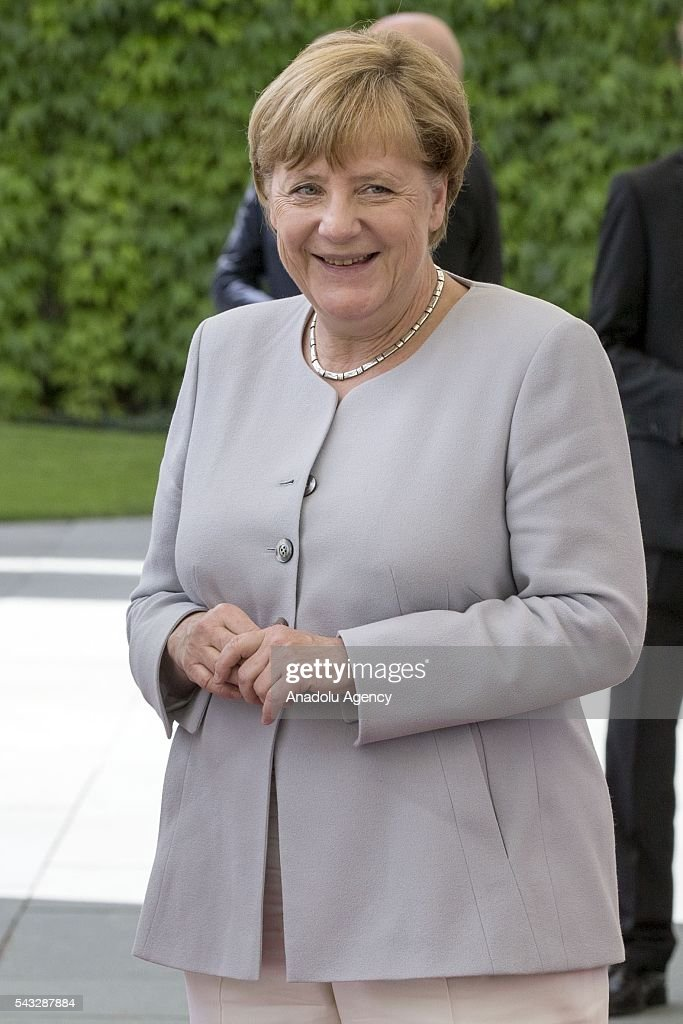 German Chancellor Angela Merkel welcomes Prime Minister of Ukraine Volodymyr Groysman (not seeen) during an official welcoming ceremony in Berlin, Germany on June 27, 2016.