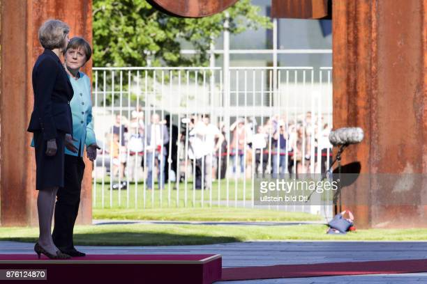 German Chancellor Angela Merkel welcomes the British Prime Minister Theresa May on July 20 2016 with military honors in Berlin It is May's first trip...