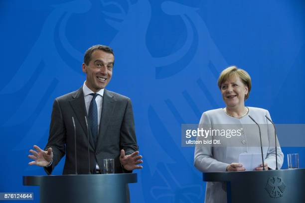 German Chancellor Angela Merkel welcomes the new Federal Chancellor of Austria Christian Kern at 23 June 2016 with military honors at the Federal...
