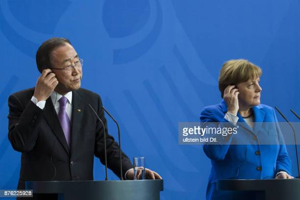 German Chancellor Angela Merkel welcomes the UN SecretaryGeneral Ban Kimoon on International Women's Day March 8 2016 at the Federal Chancellery in...