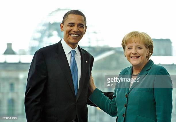 German Chancellor Angela Merkel welcomes US Democratic presidential hopeful Barack Obama at the Chancellery in Berlin on July 24 2008 Obama arrived...