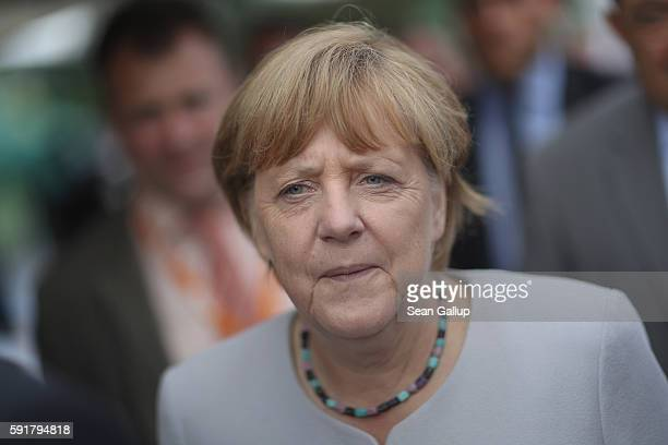 German Chancellor Angela Merkel who is also chairwoman of the German Christian Democrats attends a MecklenburgWestern Pomerania election campaign...