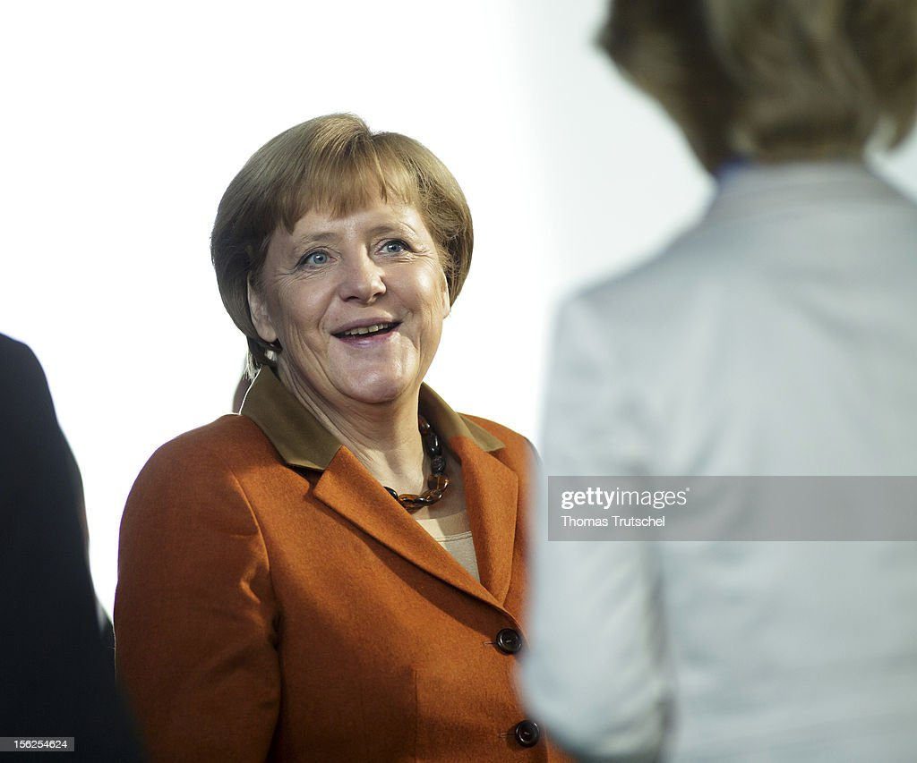 German Chancellor <a gi-track='captionPersonalityLinkClicked' href=/galleries/search?phrase=Angela+Merkel&family=editorial&specificpeople=202161 ng-click='$event.stopPropagation()'>Angela Merkel</a>German Labor Minister Ursula von der Leyen is pictured at chancellery on November 06, 2012.