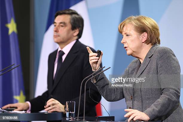 German Chancellor Anglea Merkel and French Prime Minister Francois Fillon attend a press conference at the Chancellery on March 10 2010 in Berlin...