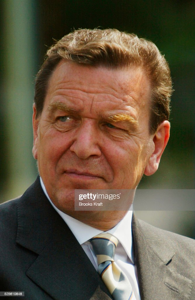 German Chancellor Gerhard Schroeder attends a joint news conference with U.S. President George W. Bush at the Bundeskanzleramt in Berlin.