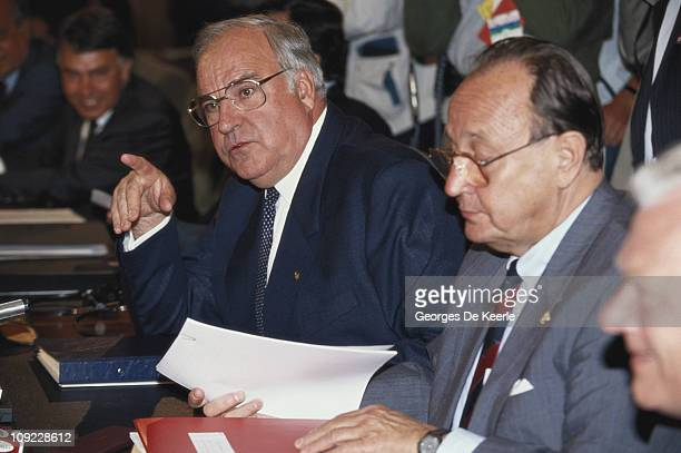 German Chancellor Helmut Kohl at the European Summit in Dublin 26th June 1990