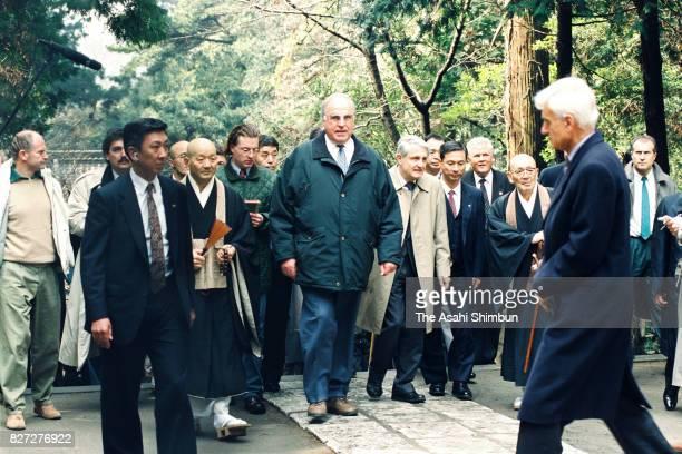 German Chancellor Helmut Kohl visits Engakuji Temple on February 28 1993 in Kamakura Kanagawa Japan