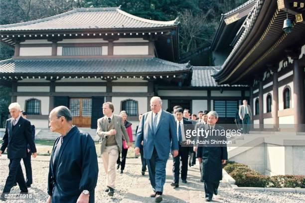 German Chancellor Helmut Kohl visits Hasedera Temple on February 28 1993 in Kamakura Kanagawa Japan