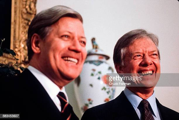 German Chancellor Helmut Schmidt left and American President Jimmy Carter right in the Oval Office at the White House Washington DC March 1980