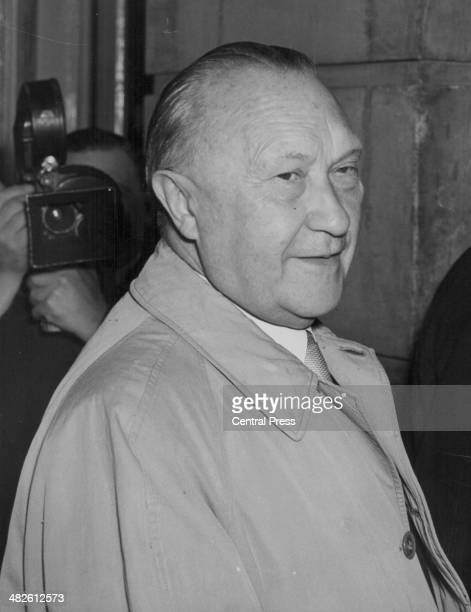German Chancellor Konrad Adenauer arriving at Lancaster House for the opening of the Nine Power Treaty Conference London September 28th 1954