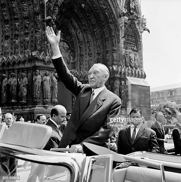 German Chancellor Konrad Adenauer In Front Of The Cathedral in Reims France on July 8 1962