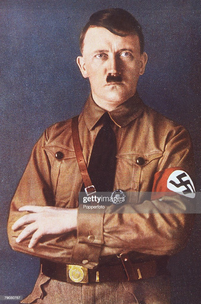 German Chancelor and leader of the Nazi Party of Germany <a gi-track='captionPersonalityLinkClicked' href=/galleries/search?phrase=Adolf+Hitler&family=editorial&specificpeople=90219 ng-click='$event.stopPropagation()'>Adolf Hitler</a> (1889-1945) poses in this portrait picture