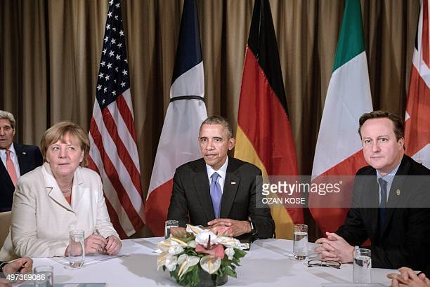 German Chancelor Angela Merkel US President Barack Obama and British Prime Minister David Cameron attend a meeting during the G20 Summit in Antalya...