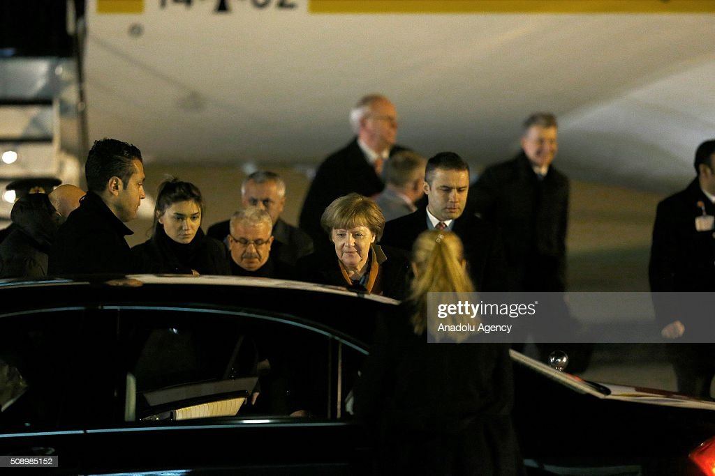 German Changellor Angela Merkel arrives at Esenboga International Airport early Monday on February 8, 2016 in Ankara, Turkey.