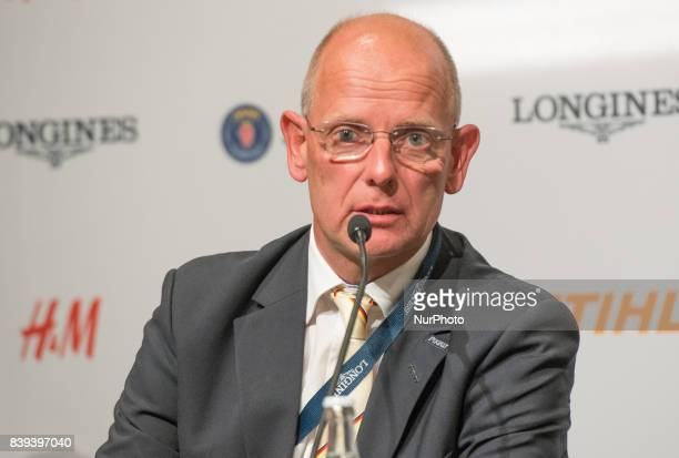 German Chef d'Equipe Klaus Roeser meets the press after his team won the gold medal in the team dressage competition of the 2017 FEI European...