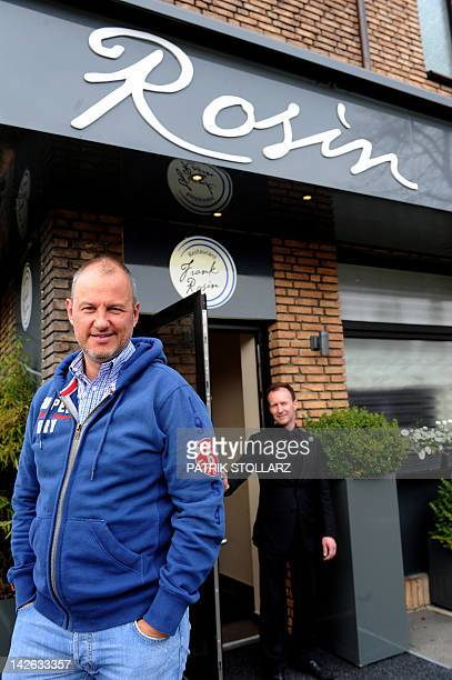 German chef Frank Rosin poses for a picture in front of his restaurant 'Rosin' on April 1 2012 in Dorsten western Germany The restaurant Rosin got...