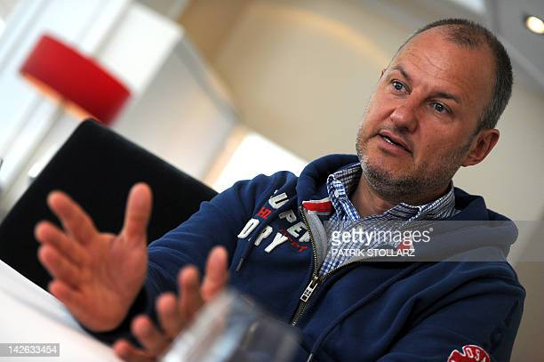 German chef Frank Rosin reacts during a interview in his restaurant 'Rosin' on April 1 2012 in Dorsten western Germany The restaurant Rosin got two...
