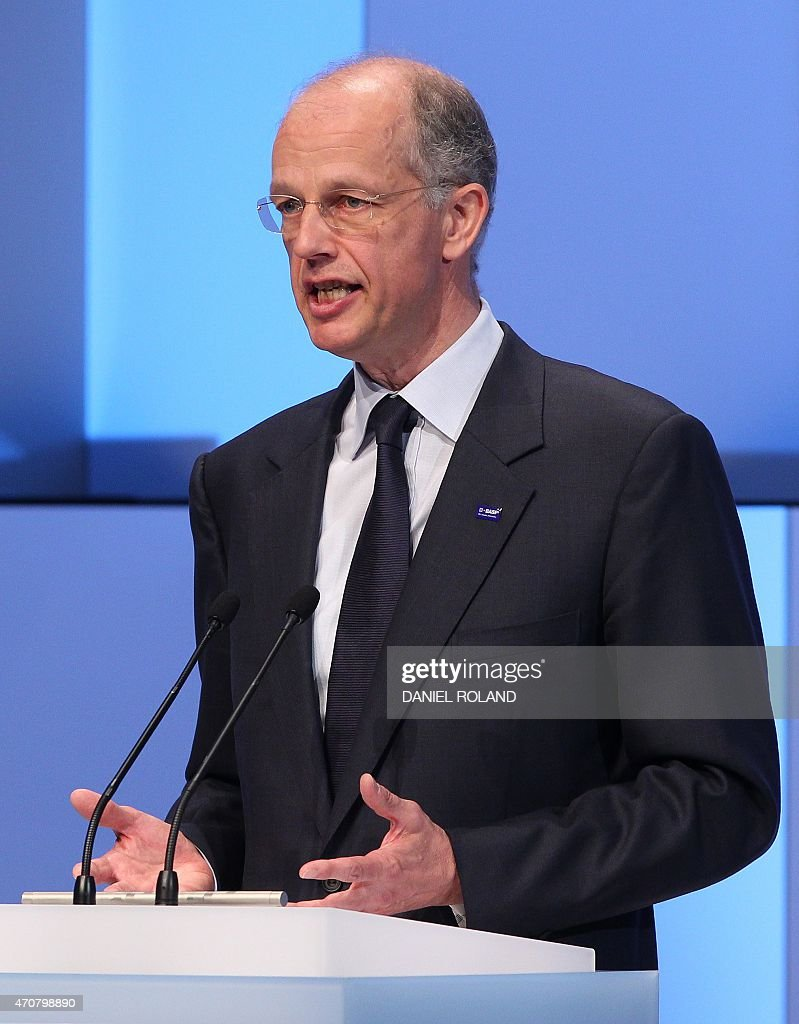 German chemicals company BASF CEO Kurt Bock delivers a speech at an event to celebrate the 150th anniversary of BASF at its headquarter in...