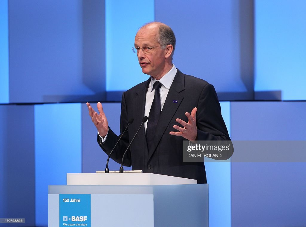 German chemicals company BASF CEO <a gi-track='captionPersonalityLinkClicked' href=/galleries/search?phrase=Kurt+Bock&family=editorial&specificpeople=2540103 ng-click='$event.stopPropagation()'>Kurt Bock</a> delivers a speech at an event to celebrate the 150th anniversary of BASF at its headquarter in Ludwigshafen am Rhein, western Germany, on April 23, 2015. ROLAND